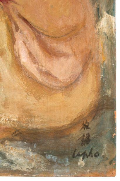 LE PHO (1907-2001) Maternité, circa 1950 Huile, encre et couleurs sur soie, signée...