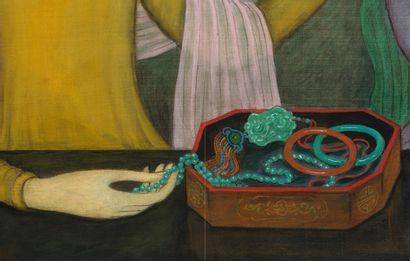 MAI TRUNG THU (1906-1980) Le coffret à bijoux, 1960 Encre et couleurs sur soie, signée...