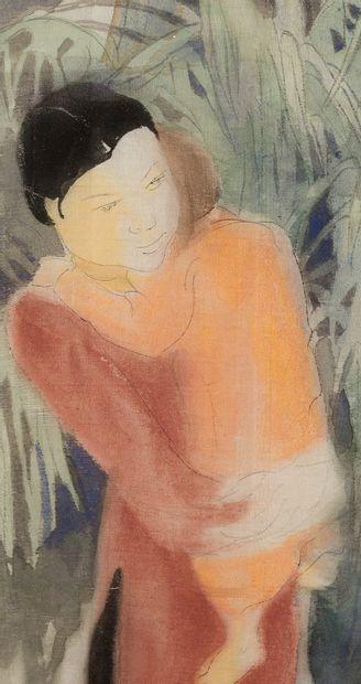 ALIX AYMÉ (1894-1989) Personnages dans la jungle Encre et couleurs sur soie, signée...
