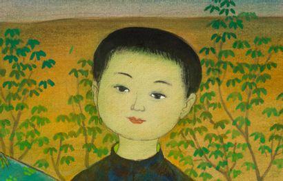MAI TRUNG THU (1906-1980) Frère et soeurs, 1969 Encre et couleurs sur soie, signée...