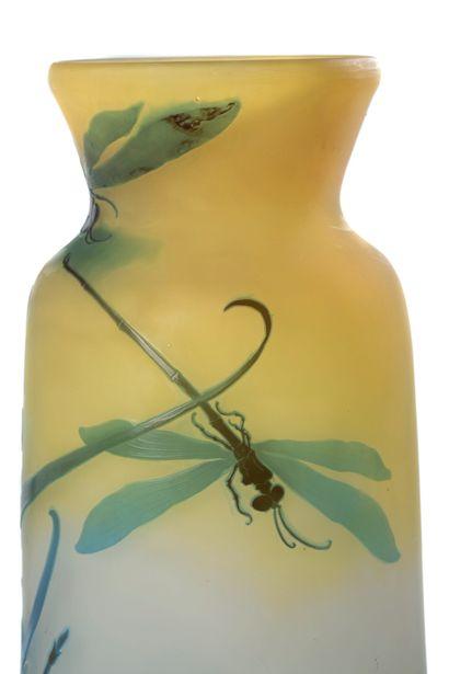 ÉTABLISSEMENTS GALLÉ «IRIS ET LIBELLULES» Très grand vase de forme tronconique, à...