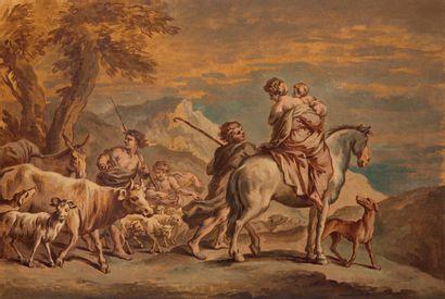 École française du XVIIIe siècle Suiveur de Giovanni Benedetto Castiglione, dit Il...
