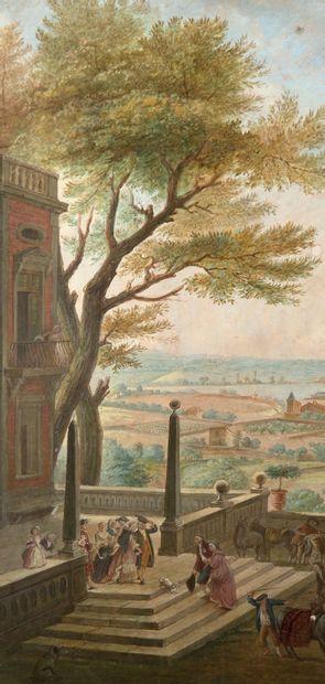 D'après Joseph Vernet Vue de Toulon Aquarelle sur papier 40,9 x 34 cm View of Toulon...
