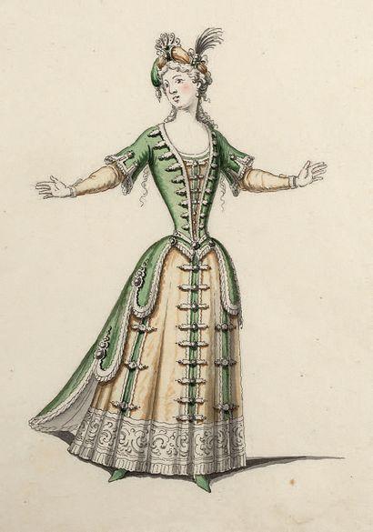JEAN BÉRAIN SAINT-MIHEL, 1640/1711, PARIS Costume de suivante de la reine Plume et...