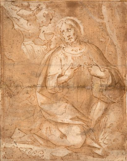 ATTRIBUÉ À GIOVANNI BATTISTA CASTELLO GANDINO, 1509 - 1569, ESPAGNE 基督与天使 布朗水墨 19,2x15,1...