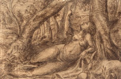 ÉCOLE ITALIENNE, VERS 1550 Nude laid down in the forest Pen and brown ink 10 x 15...
