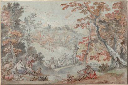 Attribué à Charles-Joseph NATOIRE Nîmes, 1700 - 1777, Castel Gandolfo Vue du Monte...