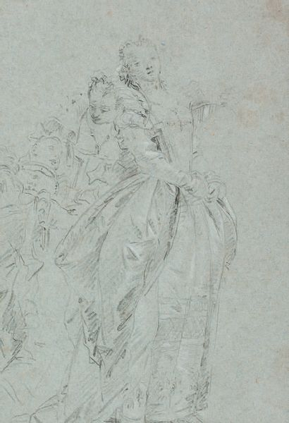 Giovanni Domenico TIEPOLO Venise, 1727 - 1804 Recto: Study for the visit of the French...