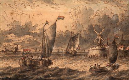 ATTRIBUÉ À LUDOLF BAKHUYSEN EMDEN, 1630/1708, AMSTERDAM