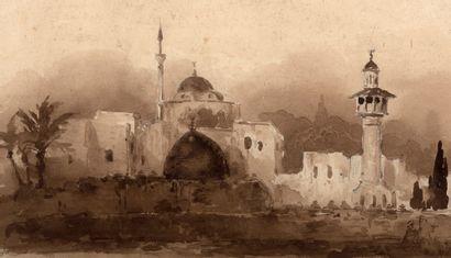 FRANÇOIS-AUGUSTE BIARD LYON, 1799 - 1882, SAMOIS-SUR-SEINE