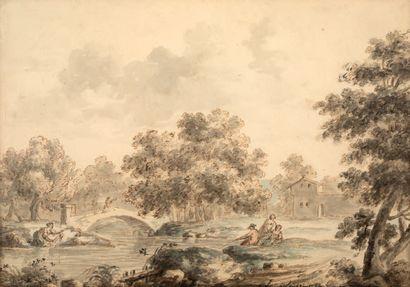 LOUIS BELANGER PARIS, 1756 - 1816, STOCKHOLM Scène de lavandières Pen, wash and watercolour...