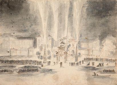 ATTRIBUÉ À GABRIEL DE SAINT-AUBIN PARIS, 1724 - 1780 Feu d'artifice pour l'entrée...
