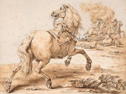 Attribué à Jan van HUCHTENBERG Haarlem, 1647 - 1733, Amsterdam Cavalier se dissimulant...