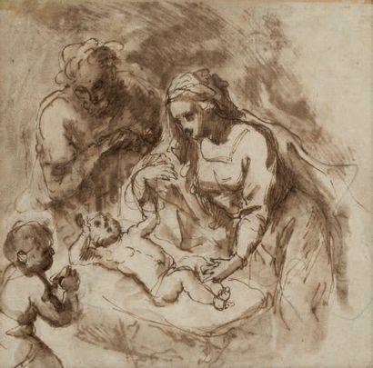 ATTRIBUÉ À FRANCESCO CURIA NAPLES, 1538 - 1610 Deux études recto-verso pour la Nativité...