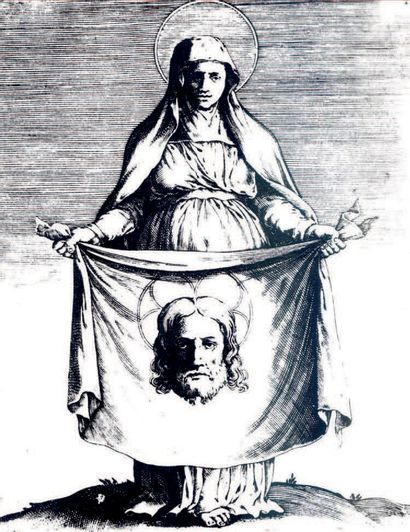 ATTRIBUÉ À AGOSTINO CARRACCI BOLOGNE, 1557 - 1602, PARME Saint Veronica holding the...