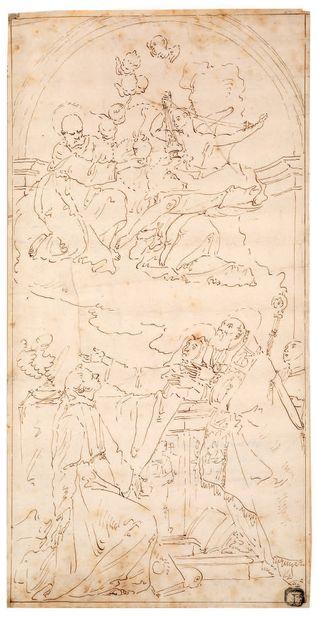 ATTRIBUÉ À CARLO MARATTA CAMERANO, 1625 - 1713, ROME 圣简-德-尚塔尔墓的开启 棕色墨水 40,1 x 29,4...