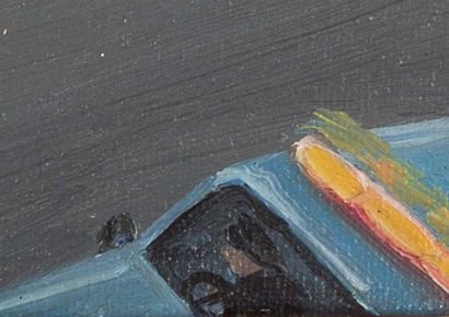 LIU XIAODONG (né en 1963) Police car with pigeons, 1993 Oil on canvas, signed, located...