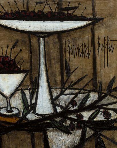 Bernard Buffet (1928 - 1999) Cerises dans un compotier , 1957 Huile sur toile, signée...