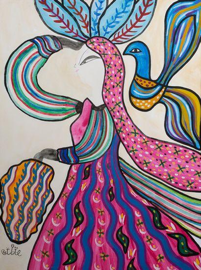 MAHIEDDINE BAYA (1931 - 1998) Danseuse à l'oiseau, 1976 Aquarelle et gouache sur...