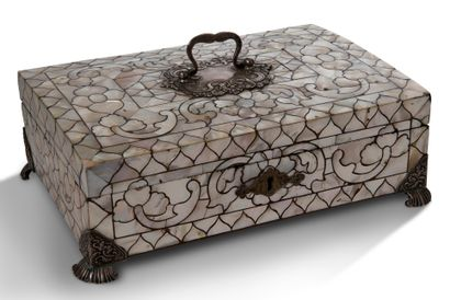 Wooden case covered with mother-of-pearl,...