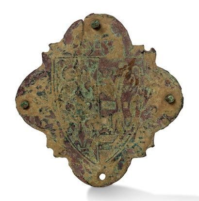 Champlevé copper plate decorated with an...