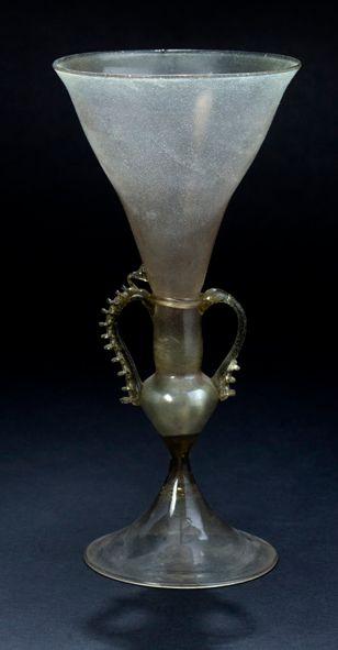 Greenish glass in the Venetian style. Circular...