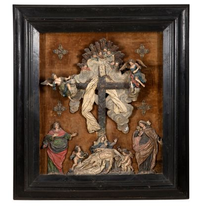 LAMENTATION AT THE FOOT OF THE CROSS in polychrome...