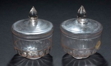 Two blown and moulded glass jam jars, lower...
