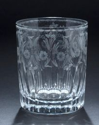 Cut crystal goblet engraved with scrolls...