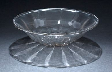 Blown clear glass bowl, umbilical base, turned...