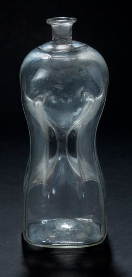 Blown glass bottle with two superimposed...