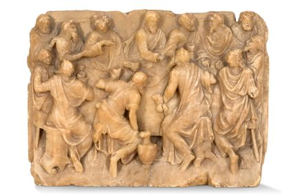 Alabaster plaque carved in high relief with...