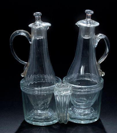 Blown glass oil-vinegar holder, applied handle...