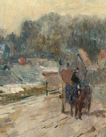 Albert Marie LEBOURG (1849-1928) Le chemin à Clères Huile sur toile, signée et située...