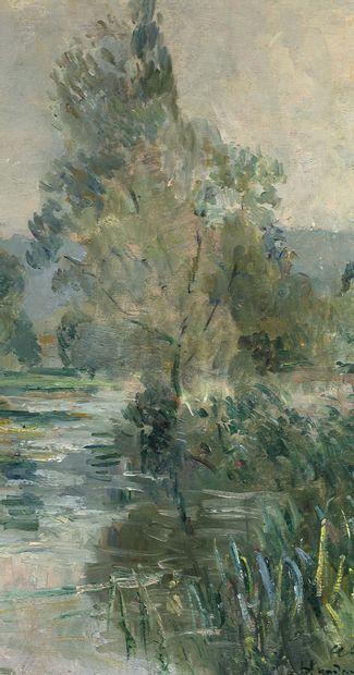 Albert Marie LEBOURG (1849-1928) Les bords de l'Iton par un temps de pluie Huile...