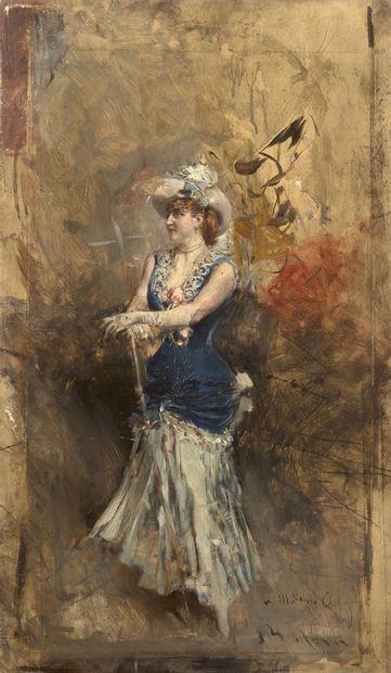 Giovanni BOLDINI (1842-1931) La Réjane sur scène, 1878-84 Huile sur panneau, signée...