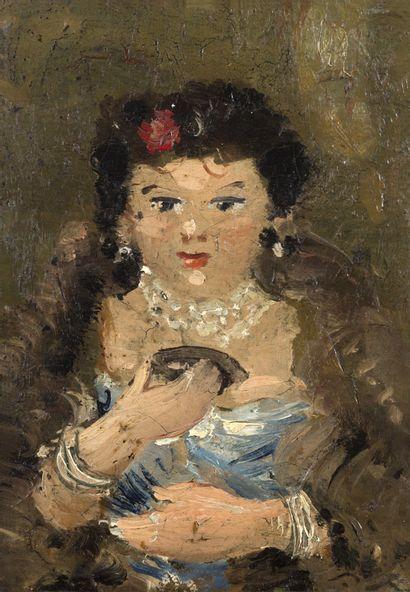 André DERAIN (1880-1954) Femme au loup, circa 1927 Huile sur toile, porte une trace...