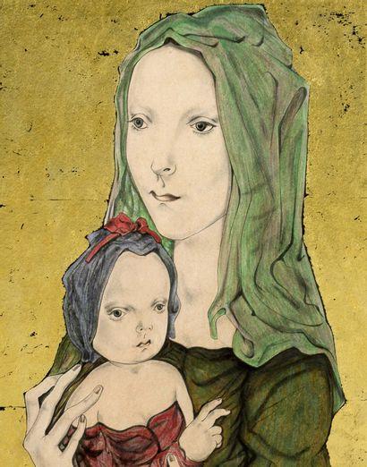Tsuguharu FOUJITA (1886-1968) Maternité, 1957 Aquarelle et feuille d'or sur papier...