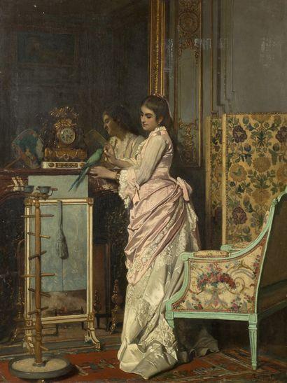 Alfred STEVENS (1823-1906) Le perroquet vert Huile sur panneau, signée en bas à droite...