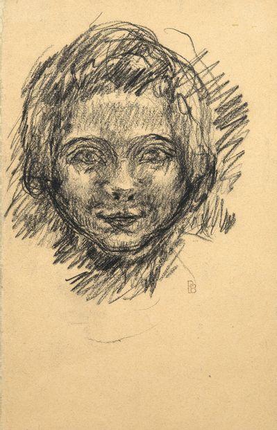 Pierre BONNARD (1867-1947) Tête de jeune fille Fusain sur papier, porte un cachet...