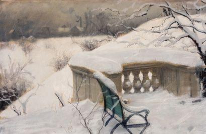 Frits THAULOW (1847-1906) Paysage enneigé dans le Elbpark à Hambourg, circa 1886...