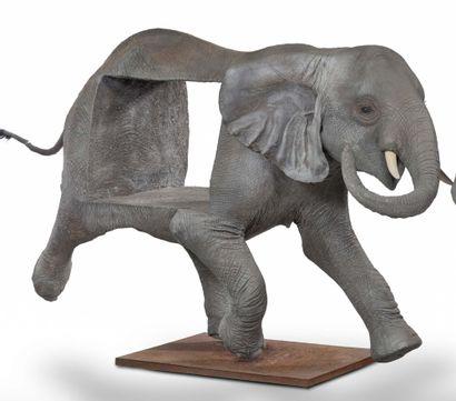 TRAVAIL ANONYME (XX-XXI) Elephant Painted fiberglass, metal, fiber and mixed media...