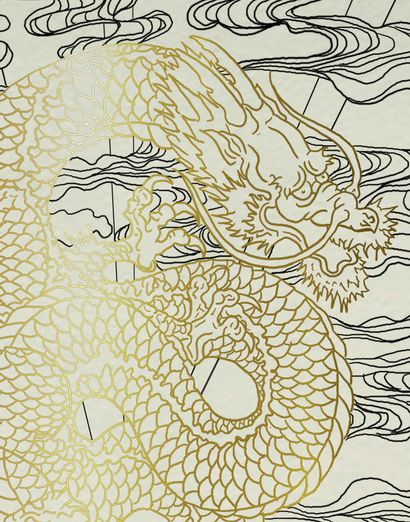 NEW FRENCH TOUCH Irezumi, 2021 Panneau de verre gravé et peinture dorée, signé derrière...