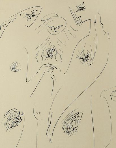 ANDRÉ MASSON (1896 - 1987) Amazons, 1965 Ink on paper, signed lower right, titled...