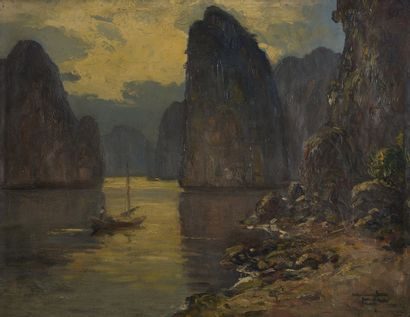 NGUYEN MAI THU (XXE SIECLE)  Barque dans...