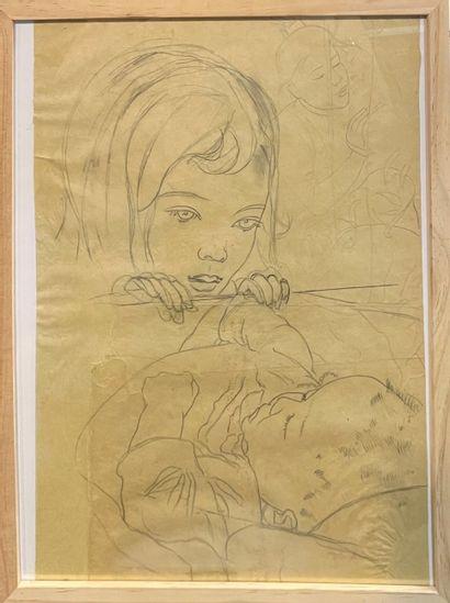 ALIX AYMÉ (1894-1989)  Le berceau, Etude...