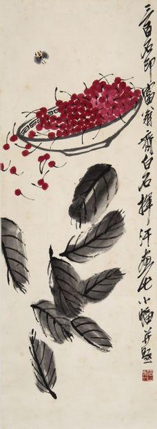 Chine, de style Qi Baishi  Peinture à l'encre...
