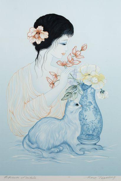 Mara Tran Long (née en 1935)  Femme au bouquet...
