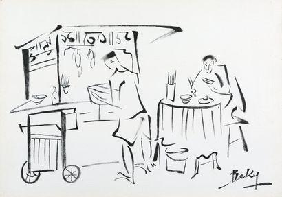 Be Ky (né en 1938)  Scène de restaurant...