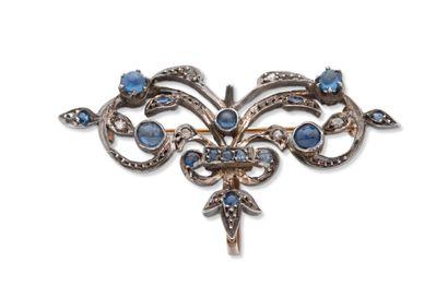 Broche  Cabochons de saphirs, pierres bleues,...